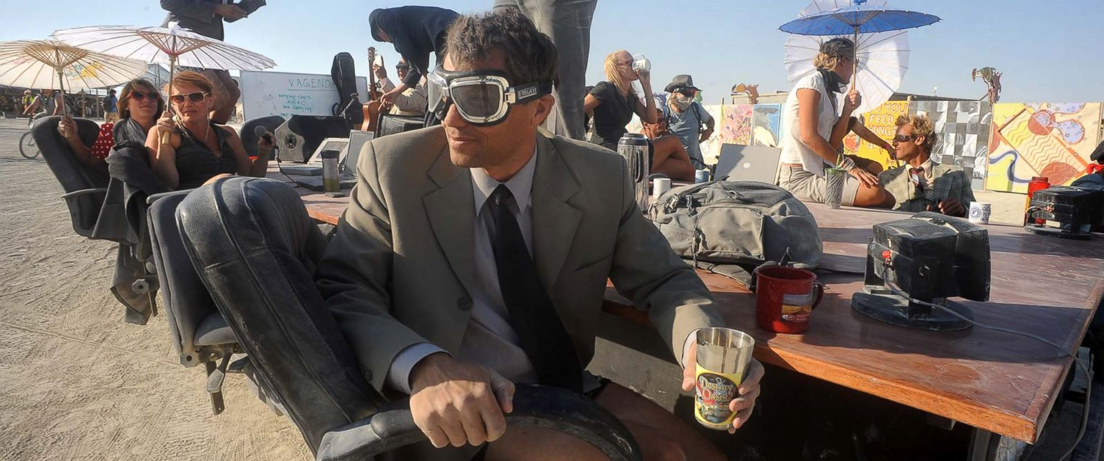 "PHOTO: A ""Mobile Board Room"" moves along the playa at the Burning Man festival in Gerlach, Nev., Aug. 29, 2013."