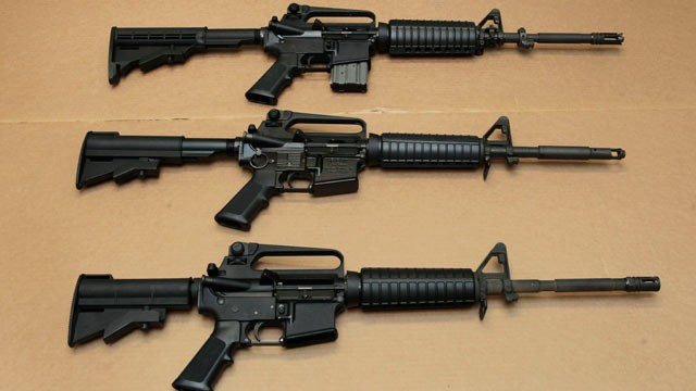 PHOTO:&Acirc;&nbsp;Three variations of the AR-15 assault rifle are displayed at the California Department of Justice in Sacramento, Calif., Aug. 15, 2012.