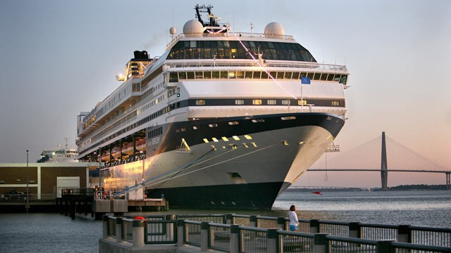 PHOTO: A cruise ship is seen docked at the South Carolina State Ports Authority passenger terminal in downtown Charleston S.C. on Feb. 26, 2010.