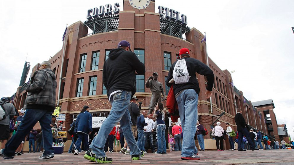 PHOTO: Colorado Rockies fans outside Coors Field