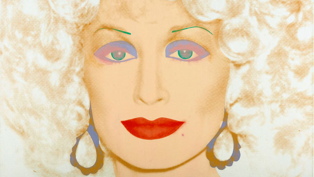 "PHOTO: Andy Warhols 1985 Synthetic polymer paint and silkscreen ink on canvas artwork ""Dolly Parton"" is displayed in Bentonville, Ark., Jan. 4, 2011."