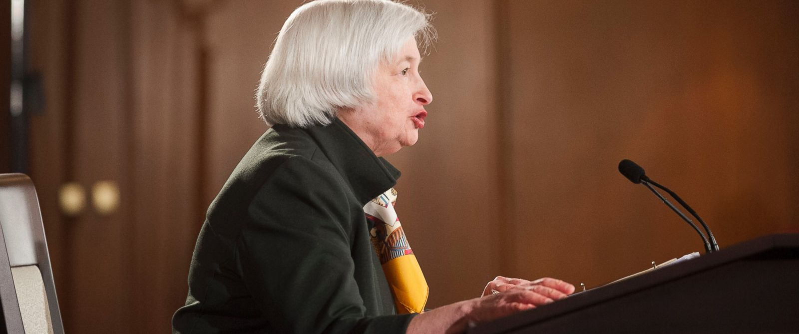 PHOTO: Federal Reserve Chair Janet Yellen speaks during a news conference at the end of the Federal Open Market Committee meeting, March 18, 2015 in Washington.