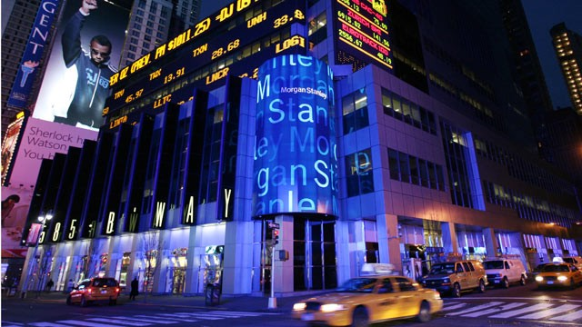 PHOTO: Morgan Stanley headquarters is shown in New York's Times Square.