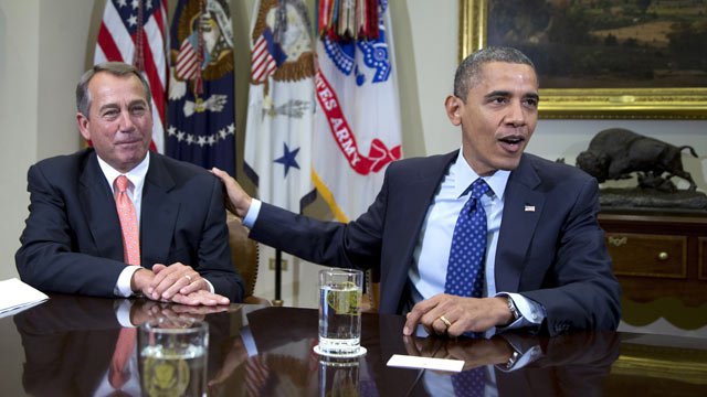 PHOTO: In this Nov. 16, 2012, file photo, President Barack Obama acknowledges House Speaker John Boehner of Ohio while speaking to reporters in the Roosevelt Room of the White House in Washington, D.C.