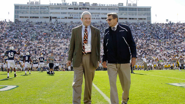 PHOTO: In this Oct. 8, 2011, file photo Penn State president Graham Spanier, left, and head football coach Joe Paterno chat bef