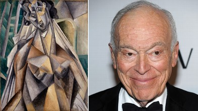 "PHOTO: Left, Pablo Picasso's 1913 ""Nude Woman in an Armchair (Eva),"" one of the paintings Leonard Lauder, right, has donated to the Metropolitan Museum of Art."