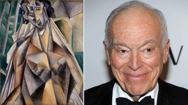 """PHOTO: Left, Pablo Picasso's 1913 """"Nude Woman in an Armchair (Eva),"""" one of the paintings Leonard Lauder, right, has donated to the Metropolitan Museum of Art."""