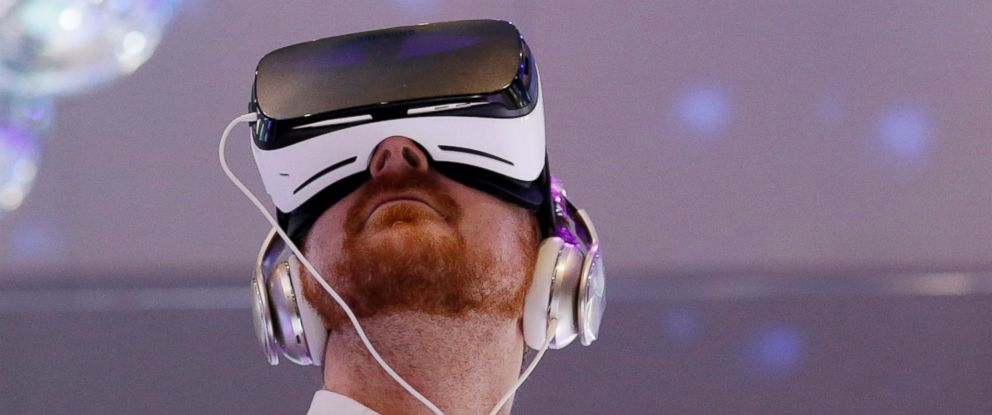PHOTO: People wear Samsung Gear VR sets during a virtual reality demonstration at CES International in Las Vegas, Jan. 6, 2016.