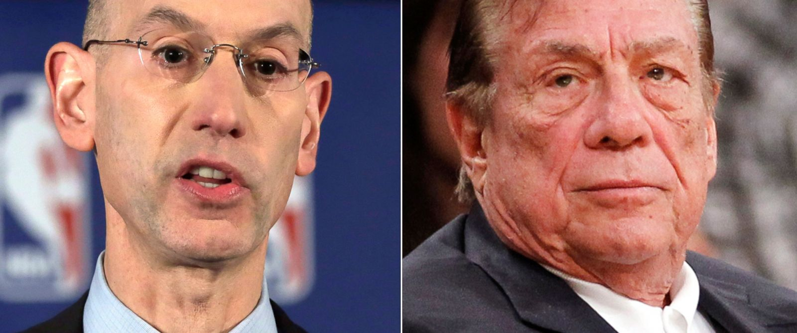 PHOTO: NBA Commissioner Adam Silver reads a statement during a news conference, in New York, April 29, 2014. Right, Los Angeles Clippers owner Donald Sterling, Dec. 19, 2010.