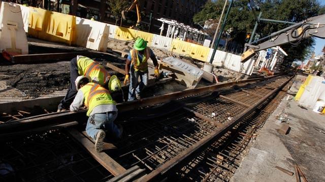 PHOTO: Streetcar track laying