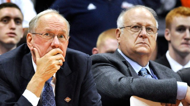 PHOTO: In this, Nov. 14, 2011, photo, Syracuse basketball coach Jim Boeheim, left, watches the action with Bernie Fine, an assistant coach, during a college basketball game. Shortly afterward, Syracuse placed Fine on administrative leave.