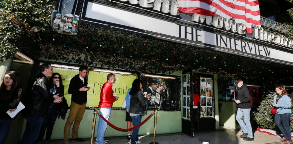 PHOTO: Patrons queue up to see The Interview at the the Cinefamily at Silent Movie Theater in Los Angeles on Dec. 25, 2014.
