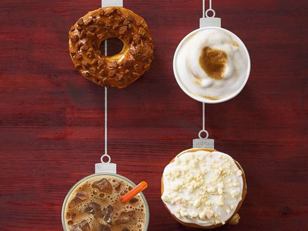 PHOTO: Dunkin Donuts new holiday donut flavors include the Gingerbread Cookie, upper left, and Frosted Sugar Cookie lower right, along with new seasonal coffee flavors.