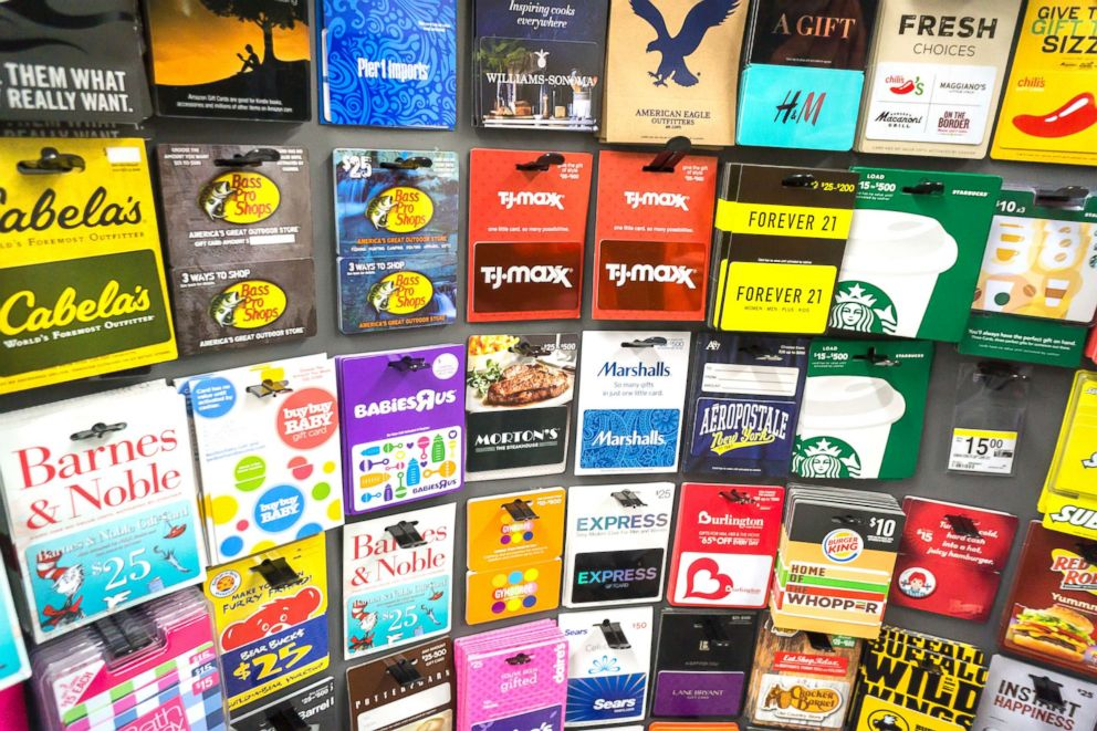 PHOTO: A selection of gift cards are displayed in a store in New York, March 8, 2016.
