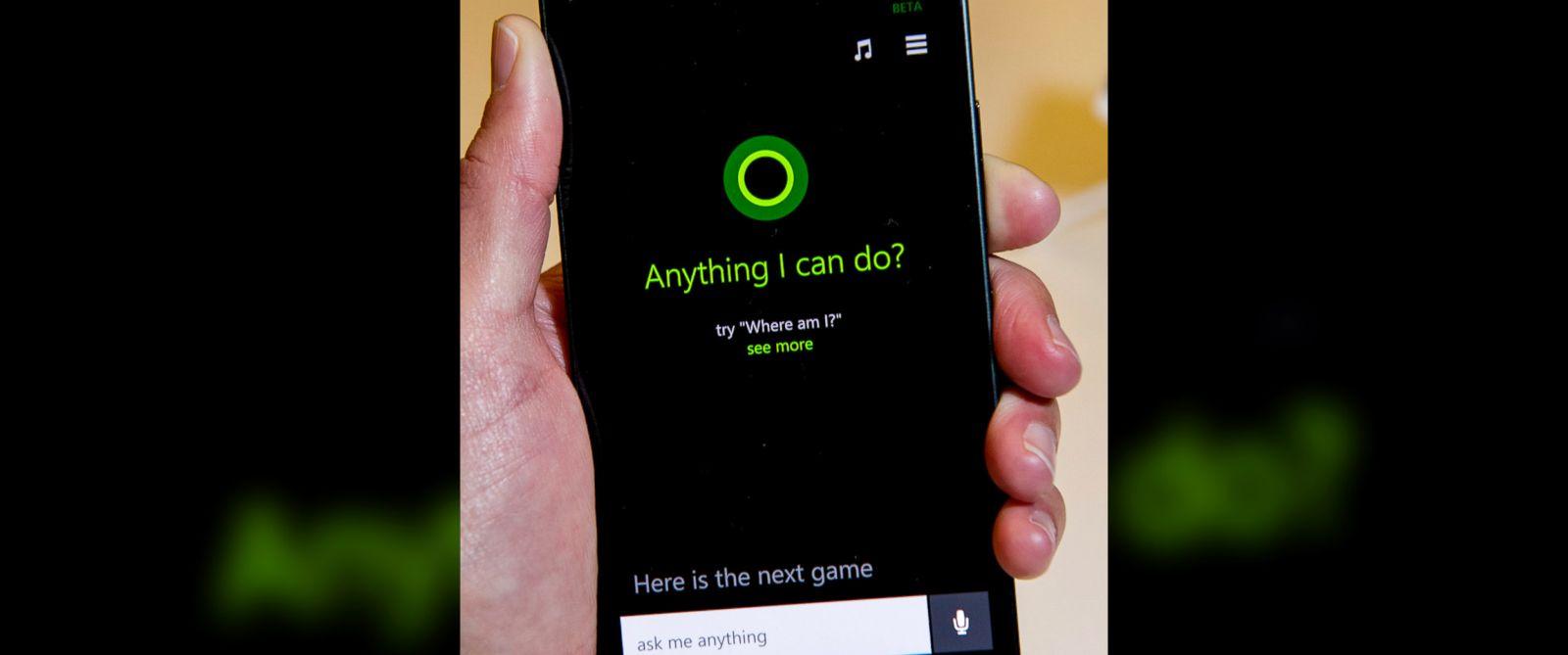 PHOTO: A Nokia smartphone displays the Microsoft Cortana application on screen in San Francisco, Calif., April 2, 2014.