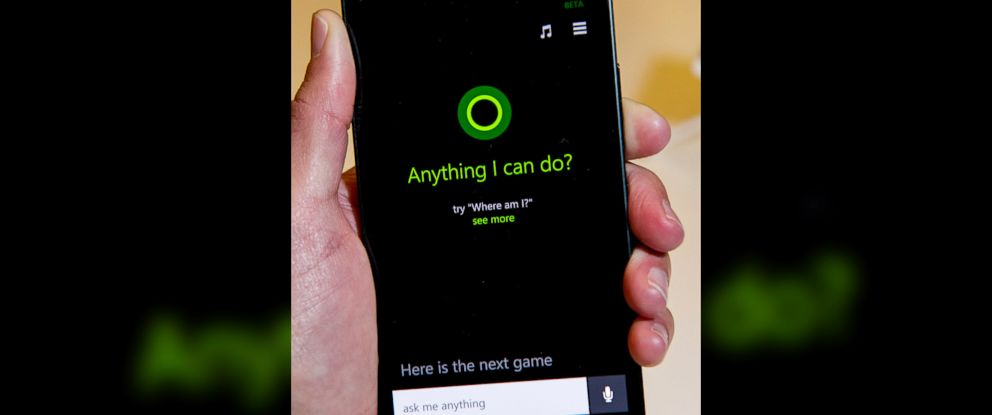 PHOTO: A Nokia smartphone displays the Microsoft Cortana application on screen in San Francisco, Calif., April 2, 2014.
