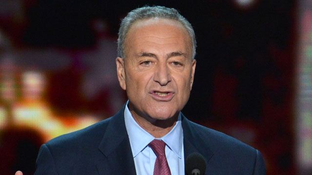 PHOTO: Charles E. Schumer speaks at the Time Warner Cable Arena in Charlotte, North Carolina, on September 5, 2012 on the second day of the Democratic National Convention (DNC).