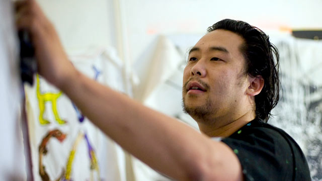 PHOTO: Artist David Choe, who painted murals at the headquarters of Facebook Inc. in exchange for an undisclosed amount of company stock, works in his studio in the Chinatown section of New York, May 28, 2009.