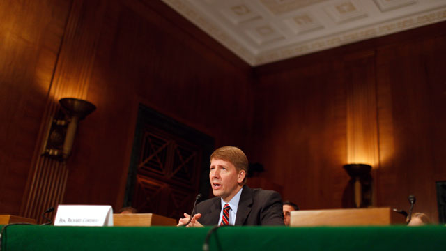 PHOTO: Richard Cordray testifies during his confirmation hearing before the Senate Banking, Housing and Urban Affairs Committee on Captiol Hill Sept. 6, 2011 in Washington, DC.