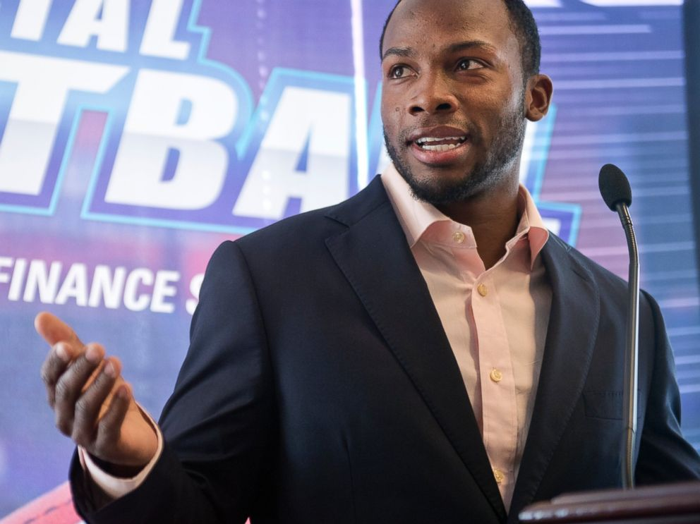 PHOTO: Detroit Lions wide receiver Ryan Broyles speaks during an event at 101 Constitution Avenue with the National Bankers Association, Visa, and NFL players, March 18, 2015, to educate teens about financial responsibility.