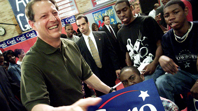 PHOTO: U.S. Vice President and Democratic presidential candidate Al Gore reaches out to shake hands following a speech to students, faculty and parents at the William Raines High School in Jacksonville, Fla. March 3, 2000.