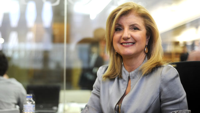 PHOTO: Arianna Huffington, president and editor-in-chief of the Huffington Post Media Group poses, June 6, 2012 during an interview at the Huffington Post office in Madrid.