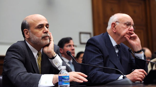 PHOTO: Federal Reserve Board Chairman Ben Bernanke, left, testifies with Paul Volcker, Chairman of the President's Economic Recovery Advisory Board.