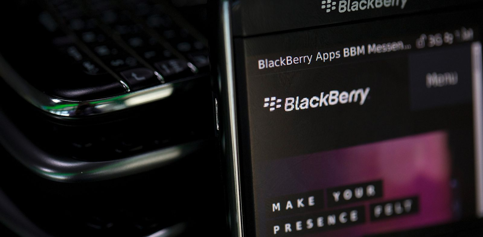 PHOTO: The BlackBerry logo is visible on a BlackBerry smartphone in this photograph taken in London, Sept. 24, 2013.