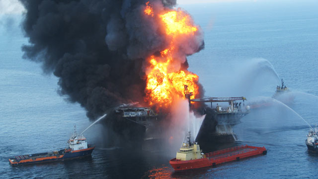 PHOTO: Fire boats battle a fire at the off shore oil rig Deepwater Horizon April 21, 2010 in the Gulf of Mexico off the coast of Louisiana.