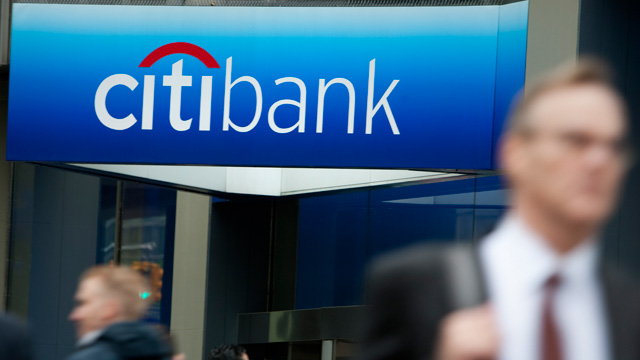 PHOTO: Pedestrians in front of Citibank branch