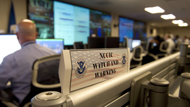 PHOTO: Analyists at the National Cybersecurity & Communications Integration Center (NCCIC) at their headquarters in Arlington, VA.