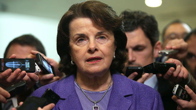 PHOTO: Sen. Dianne Feinstein (D-CA) speaks to members of the media after a hearing on the Benghazi attack November 16, 2012 on Capitol Hill in Washington, DC.