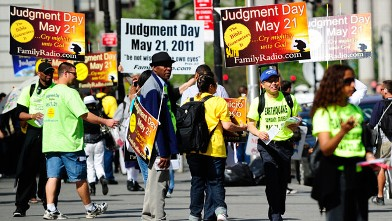 PHOTO: Activists believing that &quot;Judgement Day&quot; will happen on May 21, 2011, spread their word near Manhattan City hall in New York in this May 12, 2011 file photo.