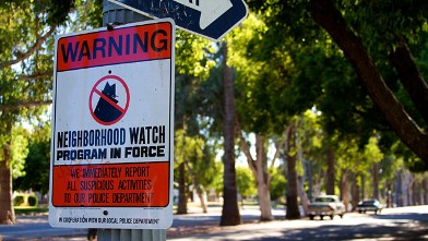 PHOTO: A neighborhood watch sign on a one-way street in Fresno, CA.