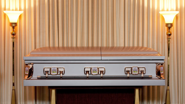 PHOTO: A coffin in seen in a viewing room in a funeral home.