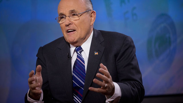 PHOTO: Rudy Giuliani, former mayor of New York, speaks during a Bloomberg Television interview in New York, on March, 6, 2013.