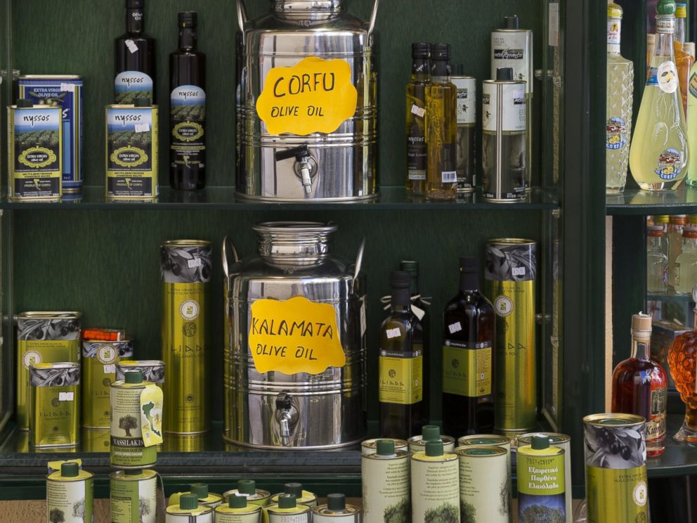 PHOTO: A souvenir shop selling olives and olive oil products in Kerkyra, Corfu Town, Greece.