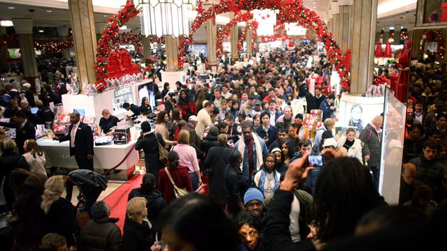 PHOTO: 'Crowds and long lines' is the top dreaded holiday activity according to a survey by Consumer Reports. In this file photo a crowd of shoppers hunt for bargains at Macy's, Nov. 28, 2008, in New York City.