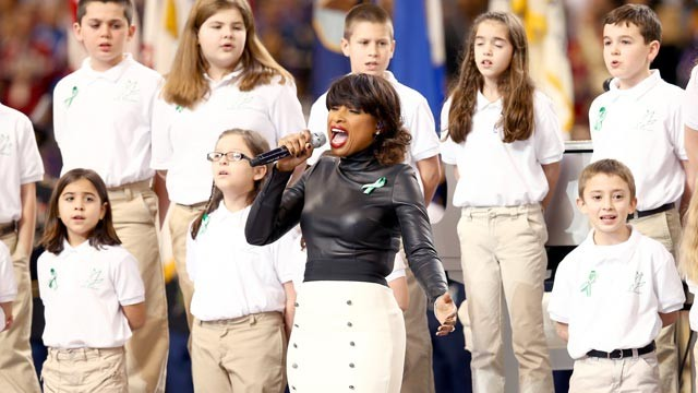 PHOTO: Students from the Sandy Hook Elementary School in Newtown, Conn. perform 'America the Beautiful' with singer Jennifer Hudson during Super Bowl XLVII Pregame Show at Mercedes-Benz Superdome, Feb. 3, 2013, in New Orleans.