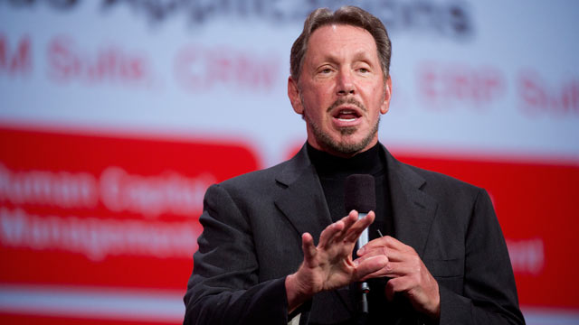 PHOTO: Larry Ellison, chief executive officer of Oracle Corp., speaks during the Oracle OpenWorld 2012 conference in San Francisco on Oct. 2, 2012.