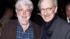 PHOTO: George Lucas and Steven Spielberg attend the dedication of the Sumner M. Redstone Production Building at USC on February 5, 2013 in Los Angeles, Calif.