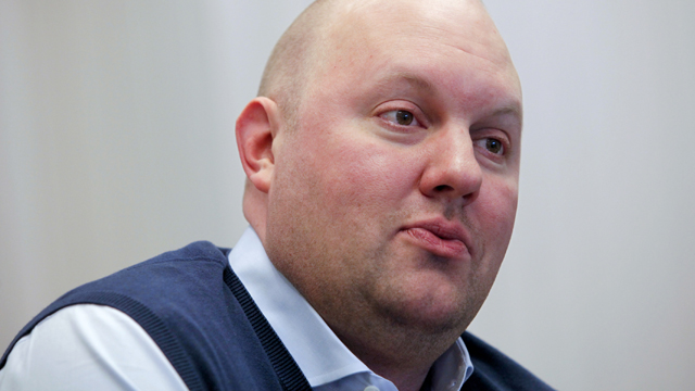 PHOTO: Marc Andreessen, chairman and co-founder of Ning Inc., speaks during an interview in San Francisco, Calif., on Feb. 24, 2011.