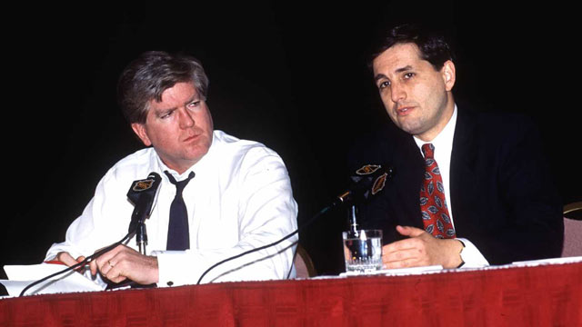 PHOTO: NHL Senior VP and Director of Hockey Operations Brian Burke and NHL Senior VP and General Counsel Jeffrey Pash speak during lockout negotiations in New York on Jan. 7, 1995.