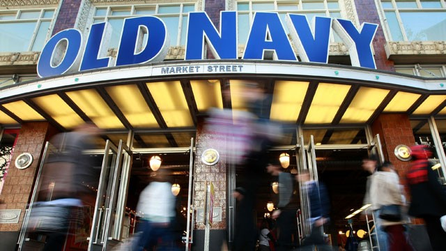 PHOTO: Pedestrians walk by an Old Navy store in San Francisco, California.
