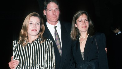 "PHOTO: Emma Thompson, Chrisopher Reeve and Dana Reeve during New York Screening of ""The Remains of the Day"" at Paris Theater in New York City."