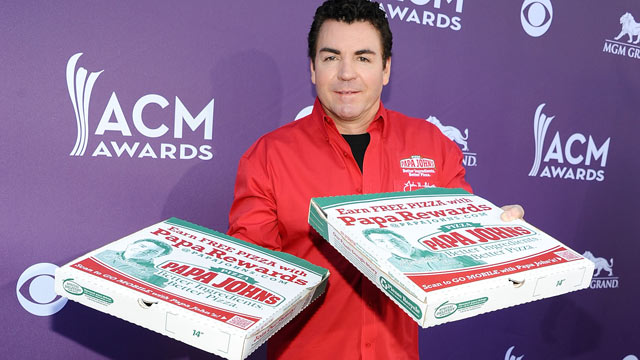 PHOTO: Papa Johns Pizza CEO John Schnatter arrives at the 47th Annual Academy Of Country Music Awards on April 1, 2012 in Las Vegas, Nev.