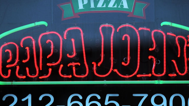 PHOTO: A sign hangs in the window of a Papa Johns pizza restaurant, August 9, 2012 in New York City.
