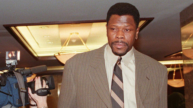 PHOTO: New York Knicks' center Patrick Ewing, representing the players union, enters a bargaining session with the National Basketball Association Nov. 20, 1998 at a New York hotel.