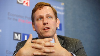 PHOTO: PayPal co-founder and former CEO Peter Thiel speaks at the National Press Club Oct. 3, 2011 in Washington, DC.