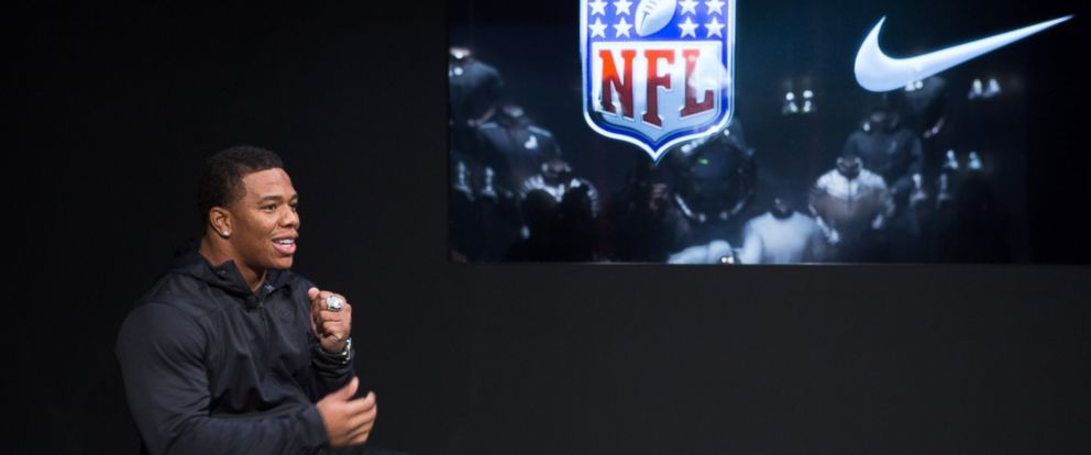 PHOTO: Ray Rice speaks at the 2014 NFL Nike Silver Speed Collection unveiling for Super Bowl XLVIII on Jan. 9, 2014 in New York City.